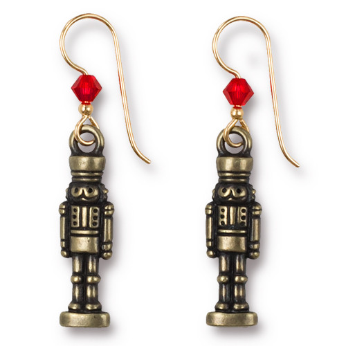Vintage Nutcracker Earrings Swarovski ® 4mm Lt Siam Crystal, Oxidized Brass Plate, 3 per Pack