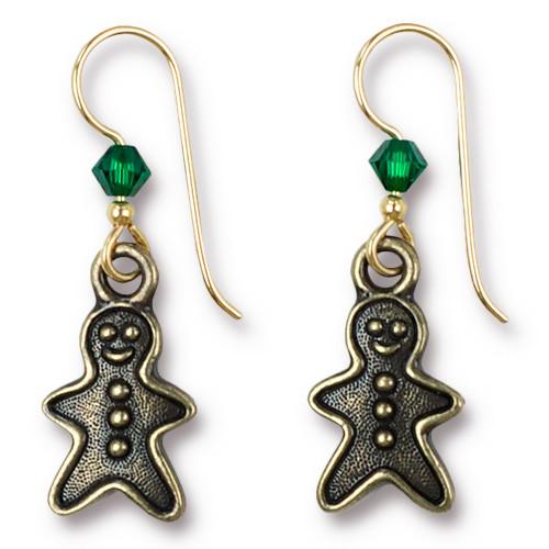 Vintage Gingerbread Man Earrings Swarovski ® 4mm Emerald Crystal, Oxidized Brass Plate, 3 per Pack