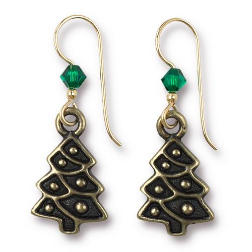 Vintage Christmas Tree Earrings Swarovski ® 4mm Emerald Crystal, Oxidized Brass Plate, 3 per Pack