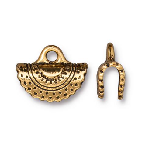 Crescent Crimp End, Antiqued Gold Plate, 20 per Pack