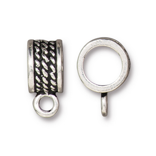 Rope Bail 8mm, Antiqued Silver Plate, 20 per Pack