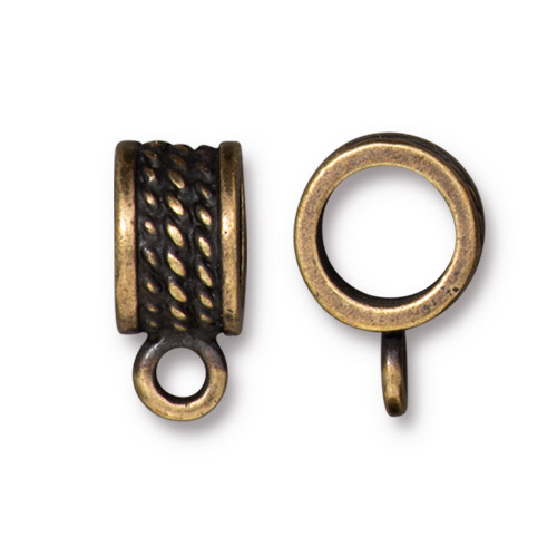 Rope Bail 8mm, Oxidized Brass Plate, 20 per Pack