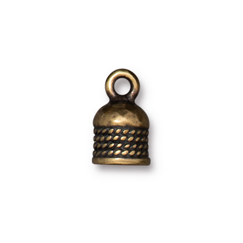 Rope Cord End 5mm, Oxidized Brass Plate, 20 per Pack
