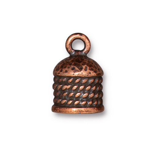 Rope Cord End 8mm, Antiqued Copper Plate, 10 per Pack