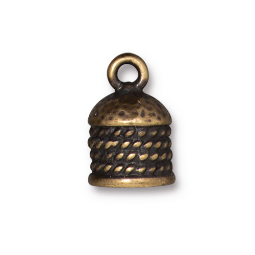 Rope Cord End 8mm, Oxidized Brass Plate, 10 per Pack
