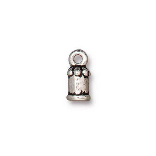 Palace Cord End 2mm, Antiqued Silver Plate, 20 per Pack