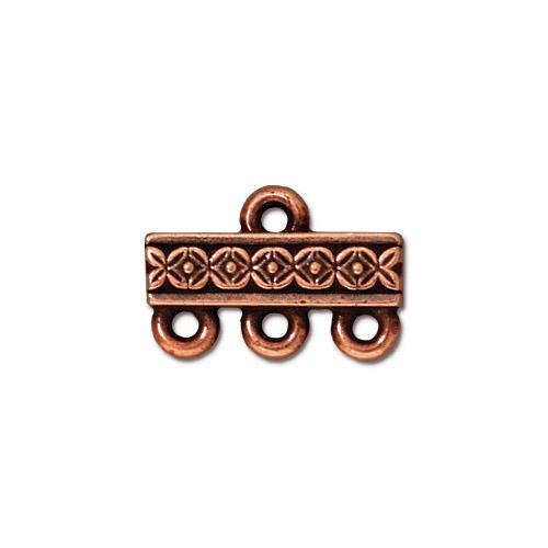 Deco Rose 3-1 Link, Antiqued Copper Plate, 20 per Pack