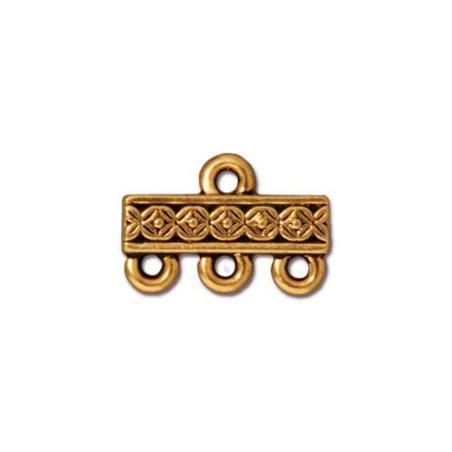 Deco Rose 3-1 Link, Antiqued Gold Plate, 20 per Pack