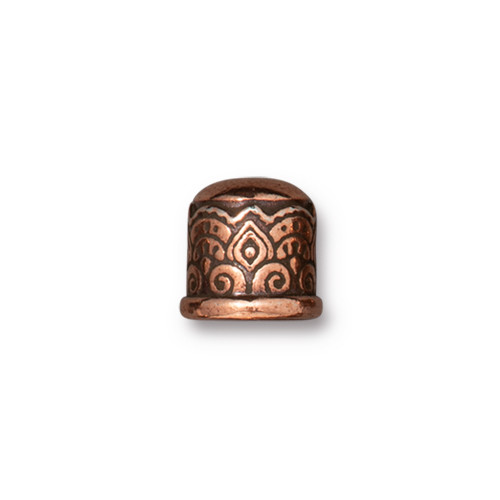 Temple Cord End 6mm No Loop, Antiqued Copper Plate, 20 per Pack
