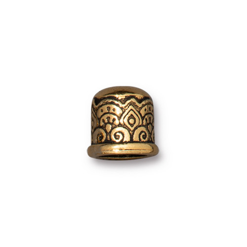 Temple Cord End 6mm No Loop, Antiqued Gold Plate, 20 per Pack