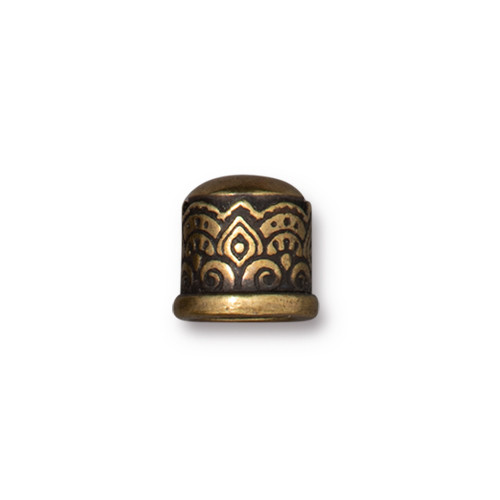 Temple Cord End 6mm No Loop, Oxidized Brass Plate, 20 per Pack