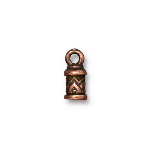 Temple Cord End 2mm, Antiqued Copper Plate, 20 per Pack