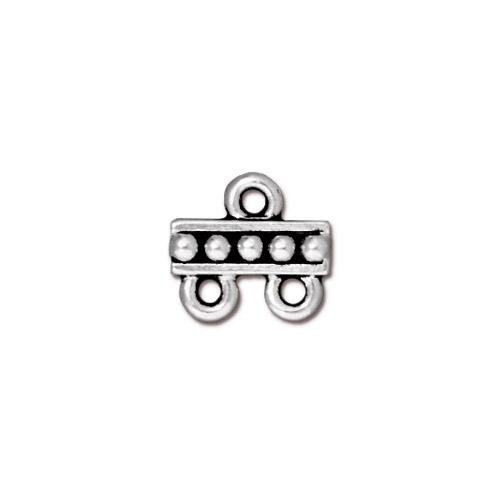 Beaded 2-1 Link, Antiqued Silver Plate, 20 per Pack