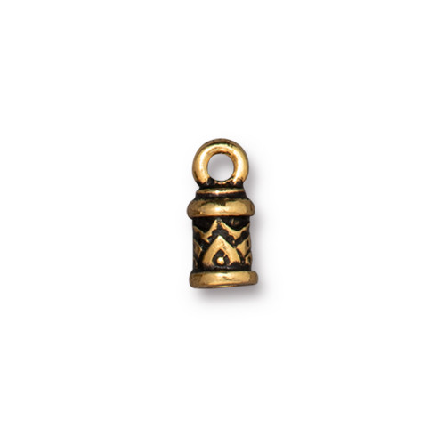 Temple Cord End 2mm, Antiqued Gold Plate, 20 per Pack