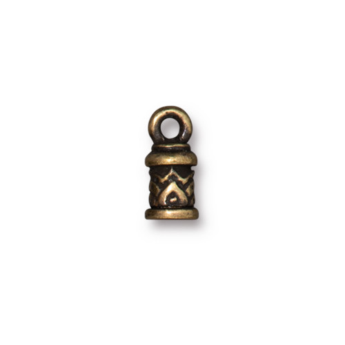Temple Cord End 2mm, Oxidized Brass Plate, 20 per Pack