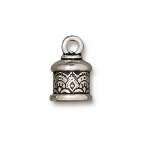 Temple Cord End 6mm, Antiqued Silver Plate, 20 per Pack