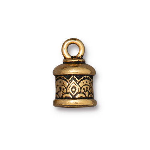 Temple Cord End 6mm, Antiqued Gold Plate, 20 per Pack