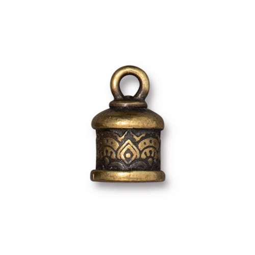 Temple Cord End 6mm, Oxidized Brass Plate, 20 per Pack