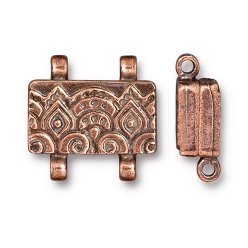 Temple Stitch-in Magnetic Clasp, Antiqued Copper Plate, 5 per Pack