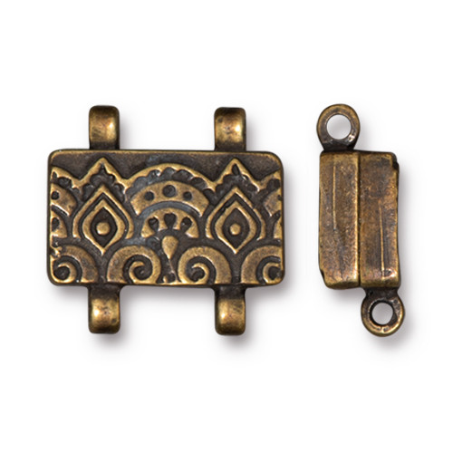 Temple Stitch-in Magnetic Clasp, Oxidized Brass Plate, 5 per Pack