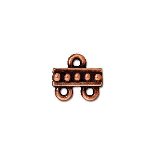 Beaded 2-1 Link, Antiqued Copper Plate, 20 per Pack