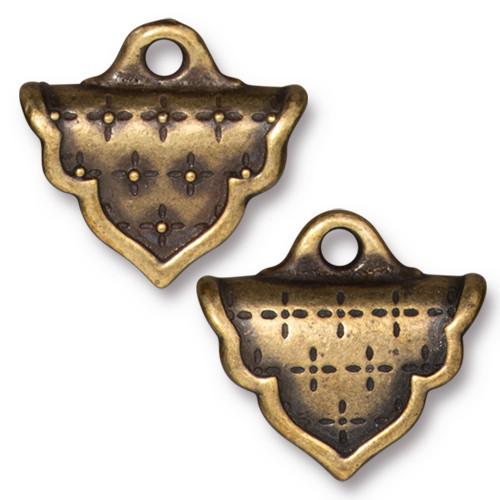 Marrakesh Crimp End, Oxidized Brass Plate, 10 per Pack