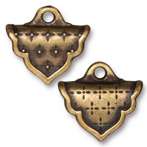 Marrakesh Crimp End, Oxidized Brass Plate, 10 per Pack
