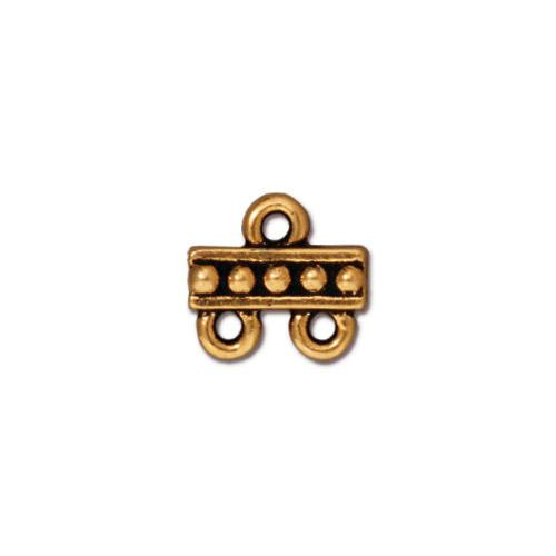 Beaded 2-1 Link, Antiqued Gold Plate, 20 per Pack