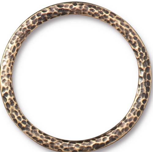 Hammertone 1.25 inch Ring, Oxidized Brass Plate, 10 per Pack