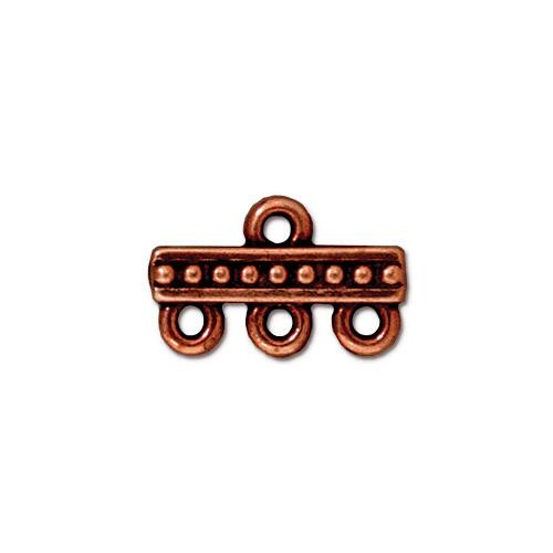 Beaded 3-1 Link, Antiqued Copper Plate, 20 per Pack
