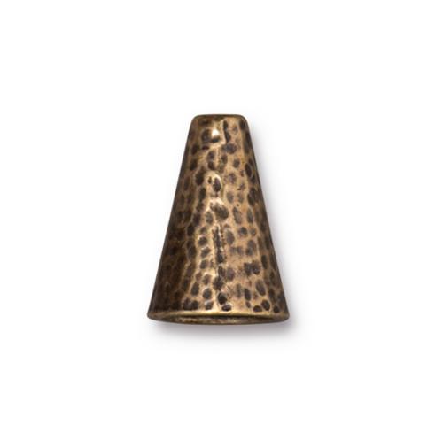 Hammertone 16mm Cone, Oxidized Brass Plate, 10 per Pack