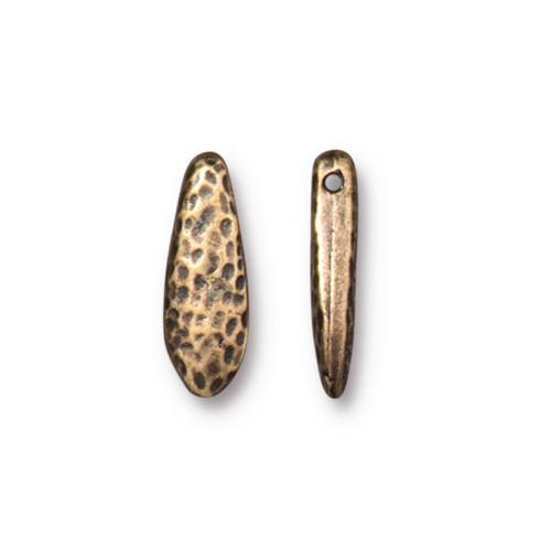 Hammertone Dagger Bead, Oxidized Brass Plate, 20 per Pack