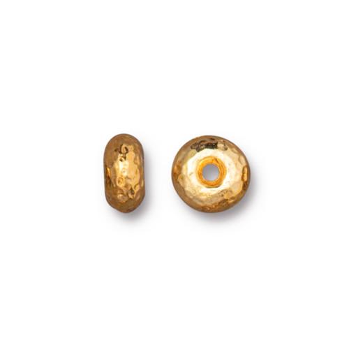Hammertone Rondelle Bead, Gold Plate, 20 per Pack