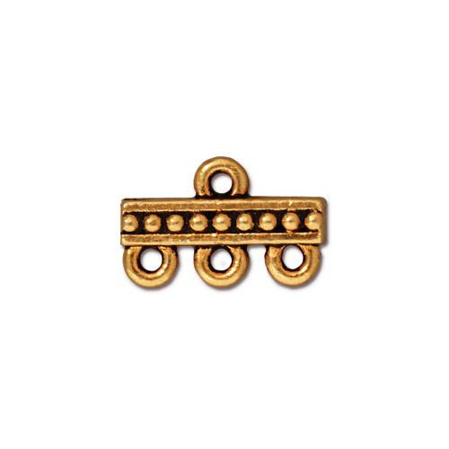 Beaded 3-1 Link, Antiqued Gold Plate, 20 per Pack