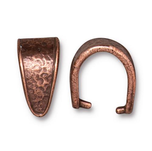 Hammertone 15mm Pinch Bail, Antiqued Copper Plate, 20 per Pack