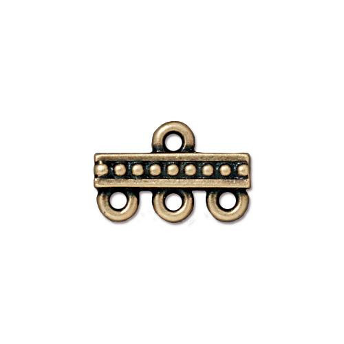 Beaded 3-1 Link, Oxidized Brass Plate, 20 per Pack