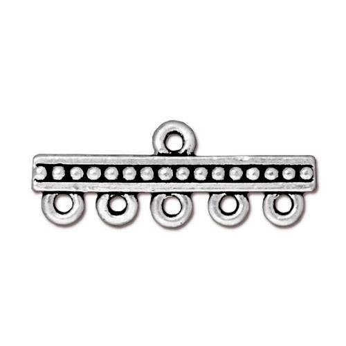 Beaded 5-1 Link, Antiqued Silver Plate, 20 per Pack