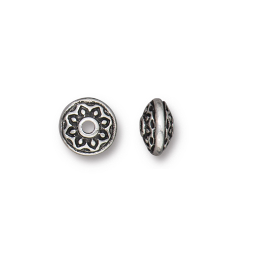 Lotus Spacer Bead, Antiqued Silver Plate, 100 per Pack