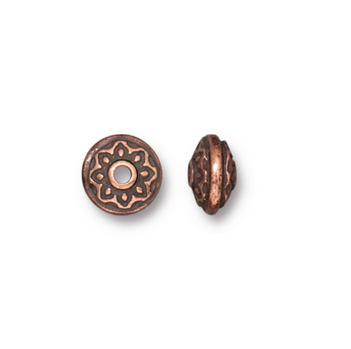 Lotus Spacer Bead, Antiqued Copper Plate, 100 per Pack