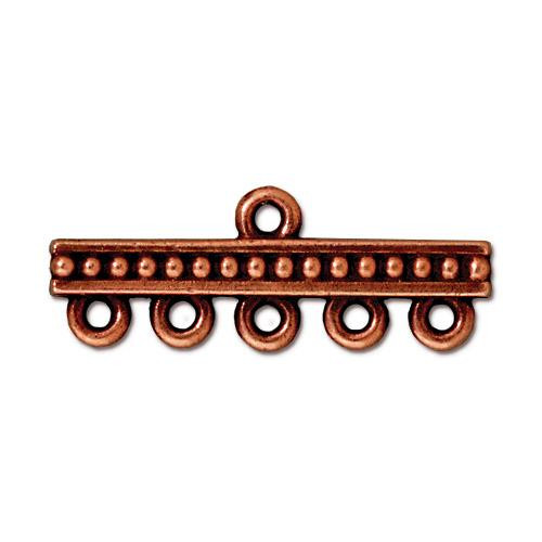 Beaded 5-1 Link, Antiqued Copper Plate, 20 per Pack