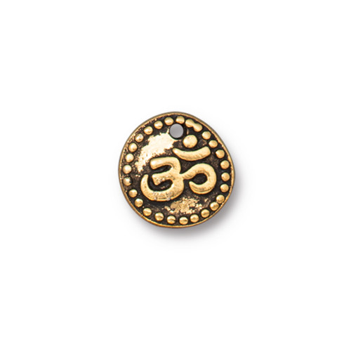 Om Coin Drop, Antiqued Gold Plate, 20 per Pack