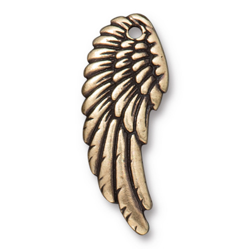 Right Angel Wing Charm, Oxidized Brass Plate, 20 per Pack