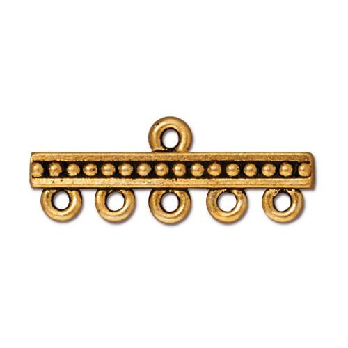 Beaded 5-1 Link, Antiqued Gold Plate, 20 per Pack