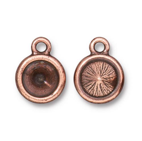 Plain SS39 Chaton Bezel Drop, Antiqued Copper Plate, 20 per Pack