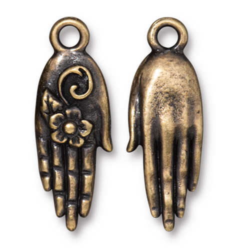 Blossom Hand Charm, Oxidized Brass Plate, 20 per Pack