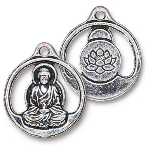 Buddha Pendant, Antiqued Silver Plate, 10 per Pack
