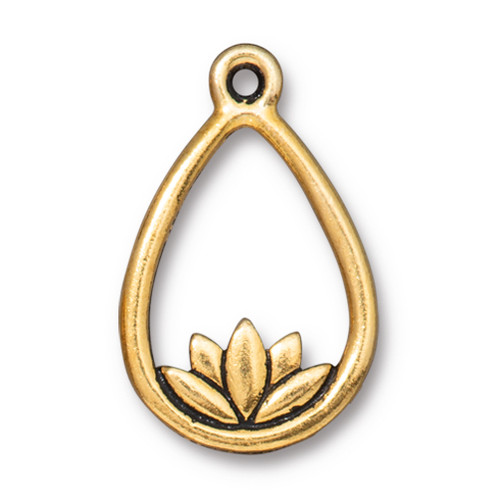 Lotus Teardrop Drop, Antiqued Gold Plate, 20 per Pack