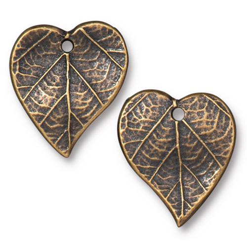 Heart Leaf Charm, Oxidized Brass Plate, 20 per Pack