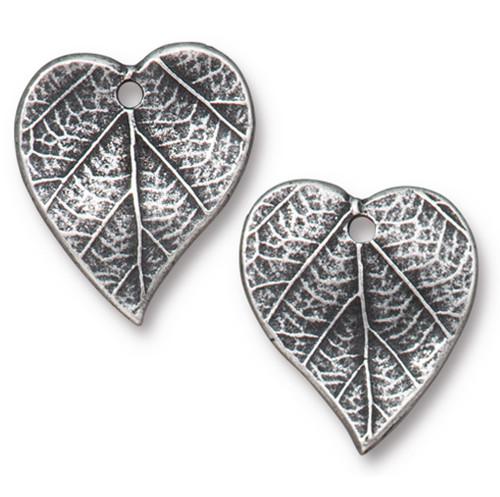Heart Leaf Charm, Antiqued Pewter, 20 per Pack