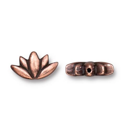 Lotus Bead, Antiqued Copper Plate, 20 per Pack
